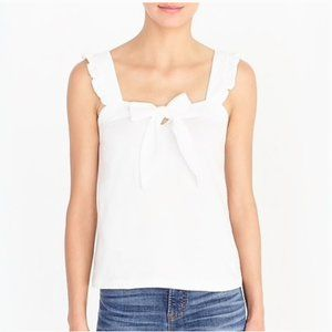 J Crew White Embroidered Tank top ruffle Strap